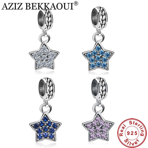 AZIZ BEKKAOUI 100% 925 Sterling Silver Charms CZ Pave Star Pendant Charm Beads Fit Pandora Bracelet Necklace For Jewelry Making