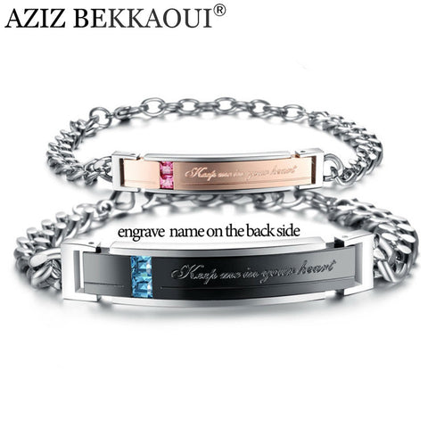"AZIZ BEKKAOUI Stainless Steel Bracelets Lover Jewelry "" keep me in your heart "" Crystal Couple Bracelets Customized Name Logo"