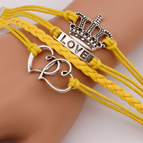 Infinity Love Anchor Leather Crown Charm Bracelet Plated Silver DIY