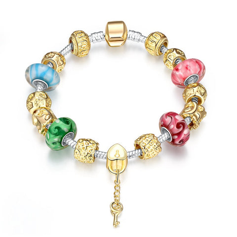 LUIISA Gold Plated Field of Murano Glass&Crystal Beads charms Bracelet