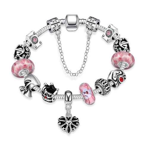 LUIISA Silver Plated DIY Crystal Coloured Glaze Charm Beads Bracelets