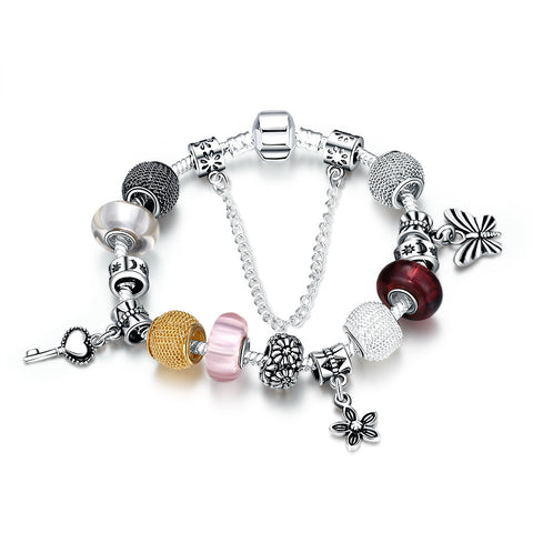 LUIISA Silver Plated DIY Colorful Beads Key Butterfly Charm Coloured G