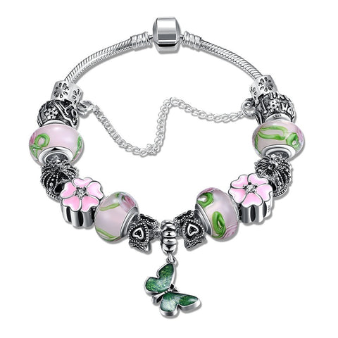 LUIISA Green Enamel Butterfly Pink Glass Beads Silver Plated Charm Bra
