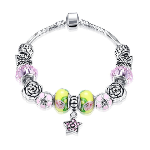 LUIISA Private Brand Fashion 925 Silver Bead Charm Bracelet for Women