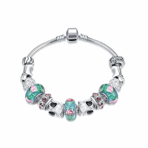 LUIISA Gifts Silver Plated Bracelet European Glass Charm Beads Fit Bra