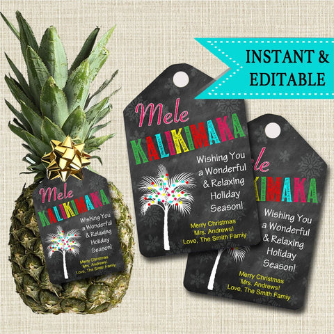 pineapple christmas tag