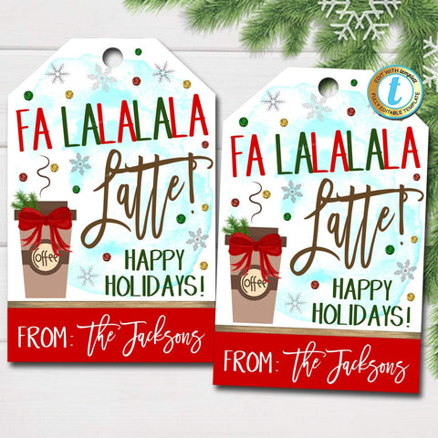 coffee christmas gift tag