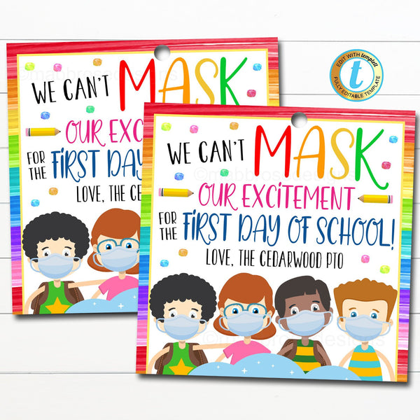 teacher face mask gift tag