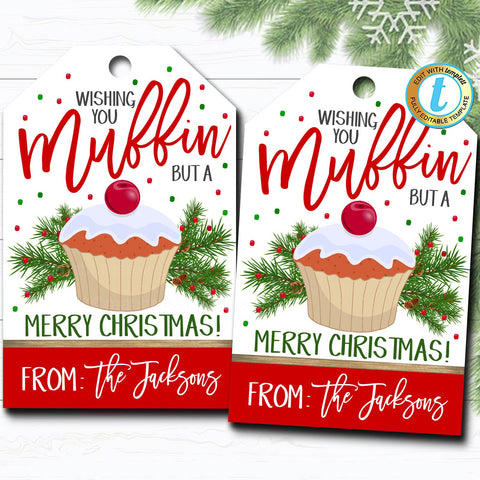 christmas muffin gift tag