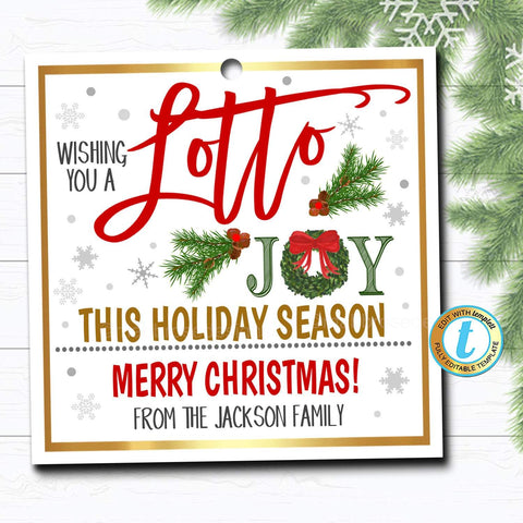 lottery christmas gift tag