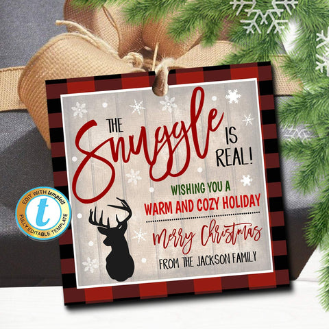 snuggle is real christmas gift tag