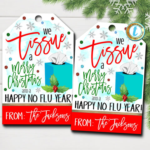 tissue christmas tag