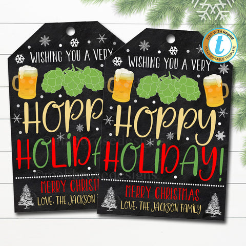 christmas beer gift tag