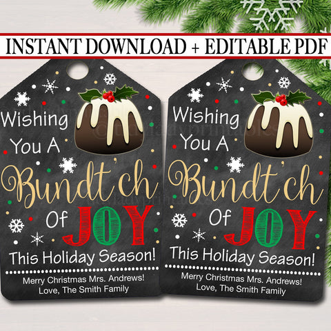 christmas bundt cake tag