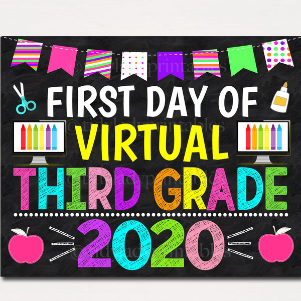 first day of virtual school sign