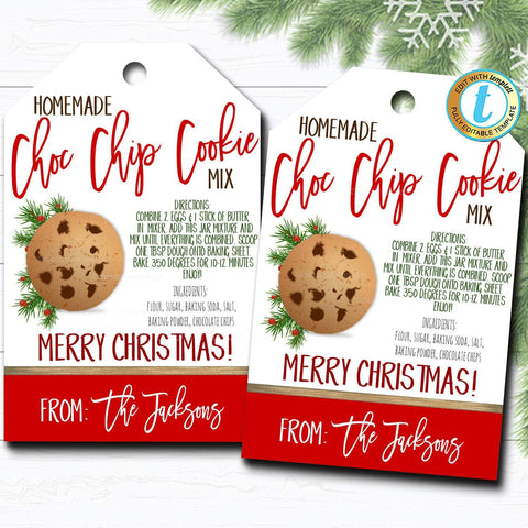 Christmas mason jar cookie mix gift tags