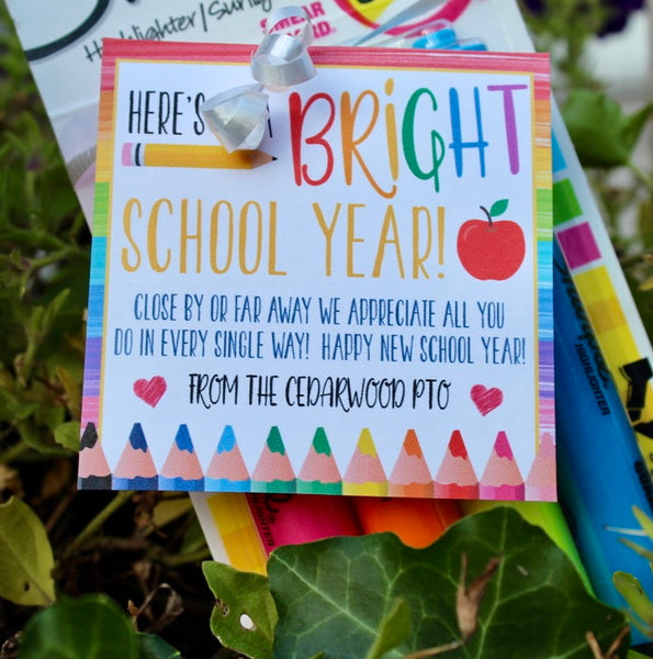 bright new school year gift tag