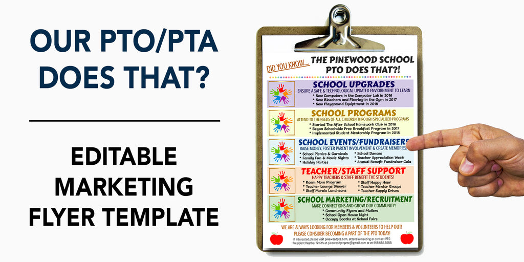 pto pta informational flyer editable template