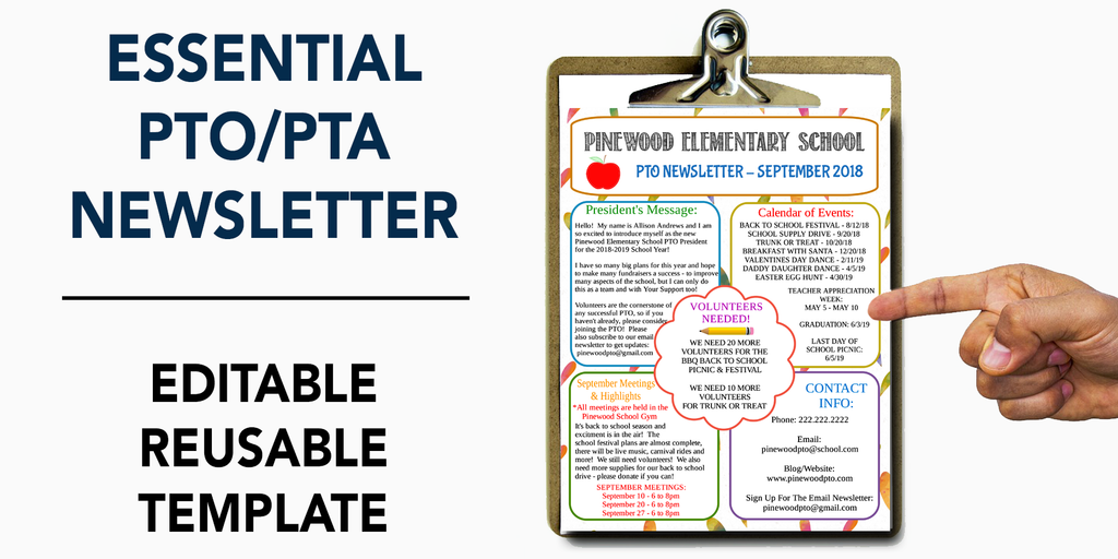 pto pta newsletter editable template form