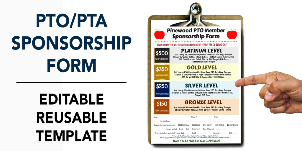 pto pta sponsorship form template