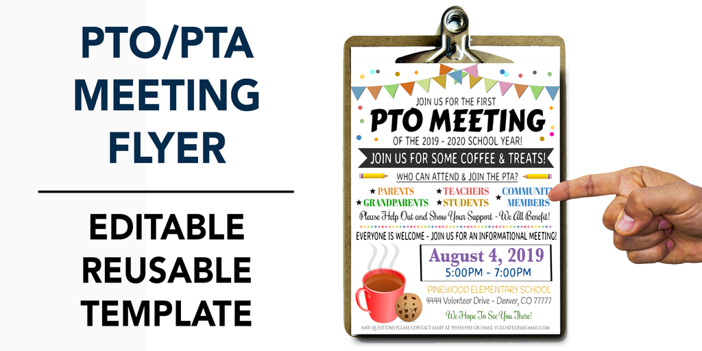 pto pta meeting flyer template