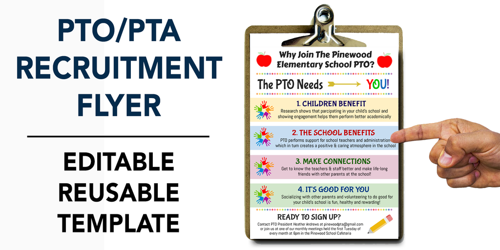 pto pta member recruitment flyer template