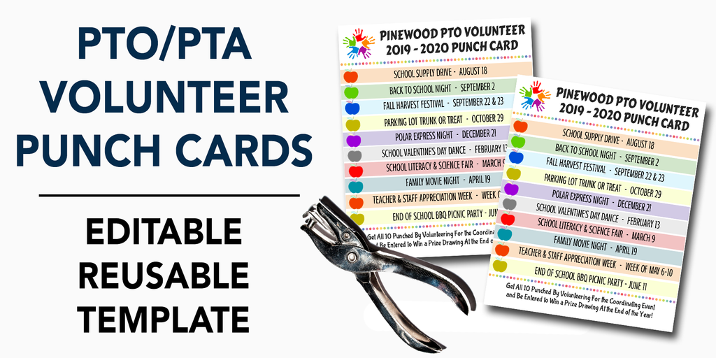 pto pta volunteer punch card template