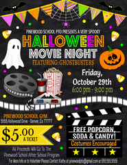 editable halloween movie night flyer invitation template