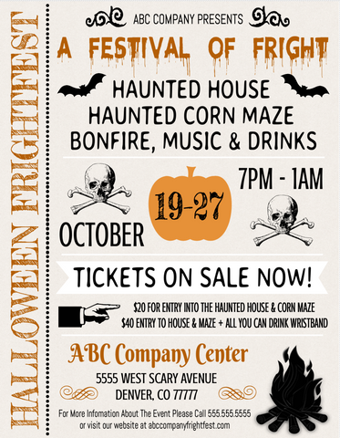 printable editable haunted house flyer template