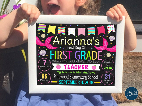 mermaid first day of school sign