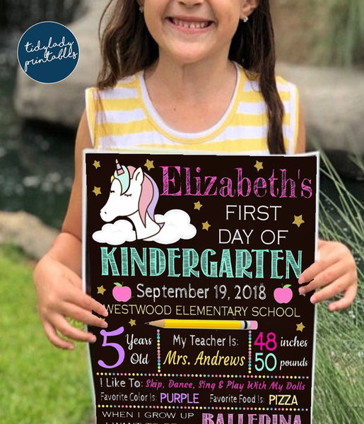 unicorn first day of school sign