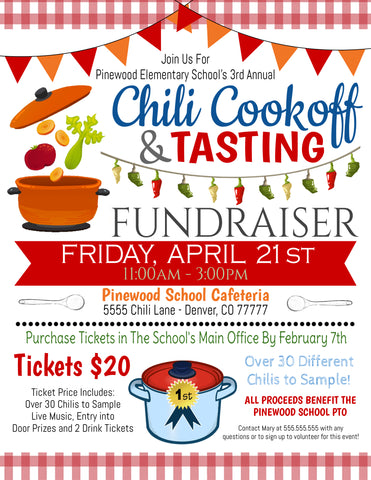 chili cookoff fundraiser flyer template
