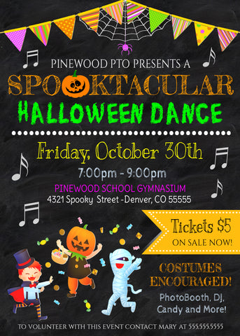 halloween school dance invitation flyer template