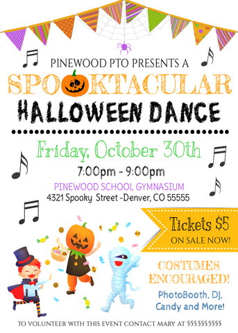 editable school halloween dance flyer template