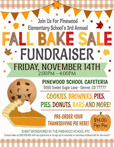 fall bake sale flyer editable template