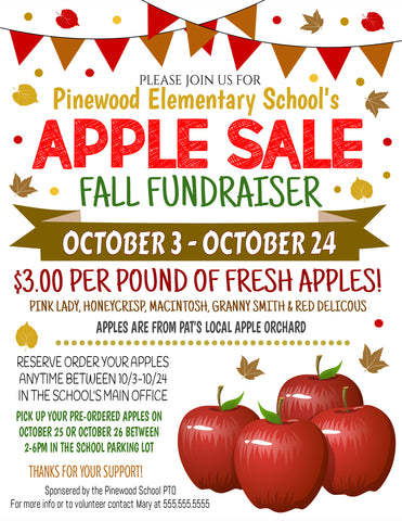 apple sale flyer template fall fundraiser idea