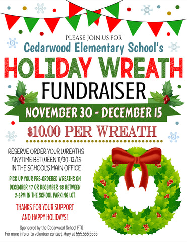 christmas wreath sale fundraiser flyer