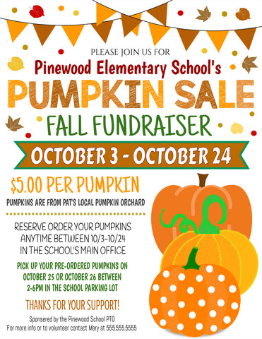 editable fall fundraiser flyer template pumpkin sale
