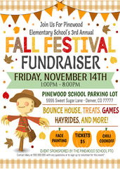 fall festival fundraiser flyer editable template