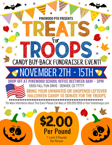 treats for troops fall candy buy back fundraiser flyer editable template