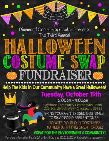 halloween costume swap fall fundraiser editable flyer template
