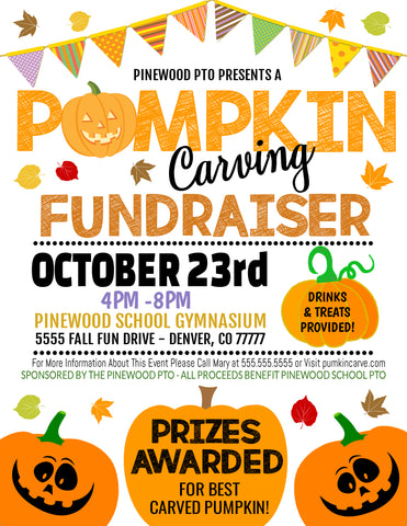 pumpkin carving fall fundraiser flyer editable template