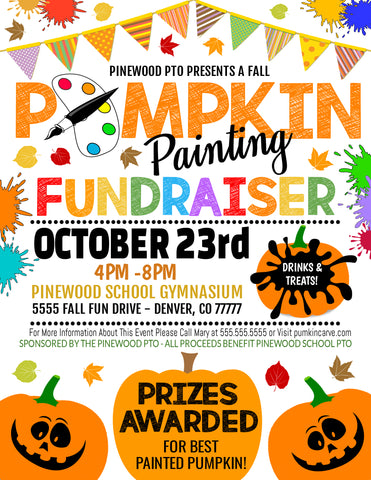 fall fundraiser pumpkin painting flyer template