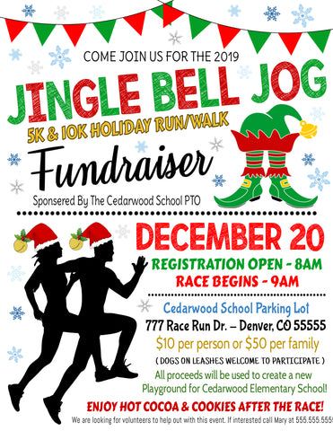 christmas jingle bell jog elf run flyer