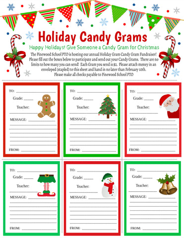 christmas candy gram flyer