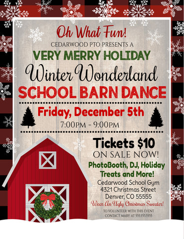 christmas winter school barn dance
