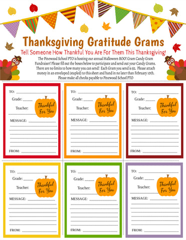 thanksgiving candy gram flyer