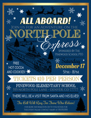christmas polar express movie night flyer