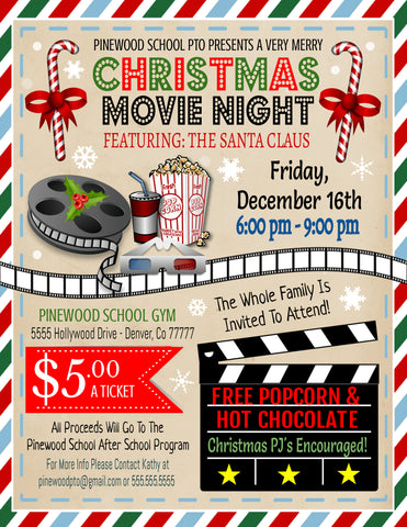 christmas movie night invitation