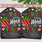 Christmas Coworker Favor Tags, How Sweet it is To Work With You, Holiday Appreciation Gift, Thank You Gift, Xmas Candy Cookie Treat Tag